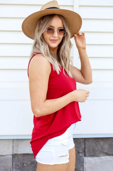 Model wearing Red Basic Scoop Neck Tank Top Side View
