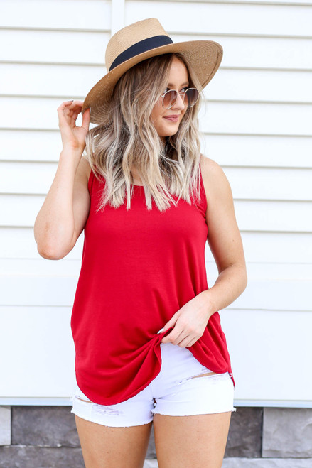 Model wearing Red Basic Scoop Neck Tank Top Front View