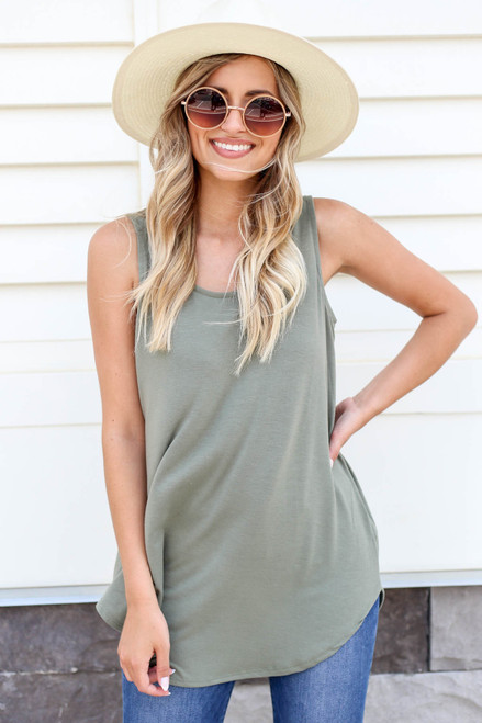 Model wearing Olive Basic Scoop Neck Tank Top Front View