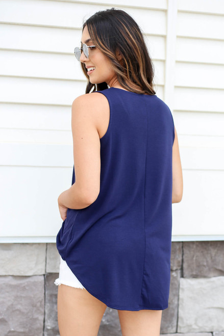 Navy - Basic Scoop Neck Tank Top Back View