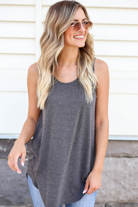 Charcoal - Basic Scoop Neck Tank Top