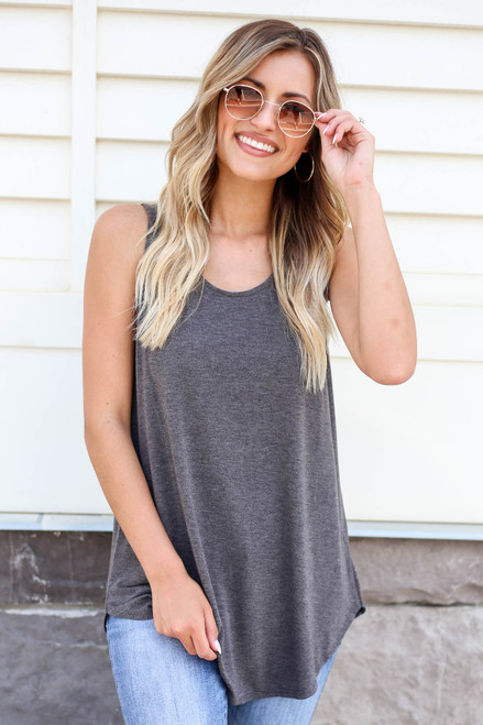 Model wearing Charcoal Basic Scoop Neck Tank Top Front View