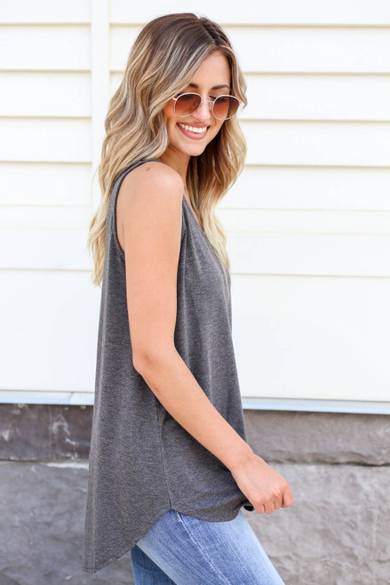 Model wearing Charcoal Basic Scoop Neck Tank Top Side View