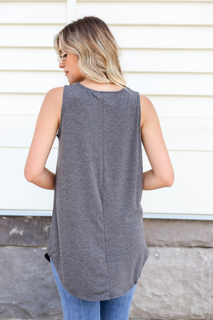 Charcoal - Basic Scoop Neck Tank Top Back View