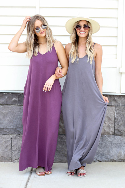 Grey - and Purple Sleeveless Maxi Dresses