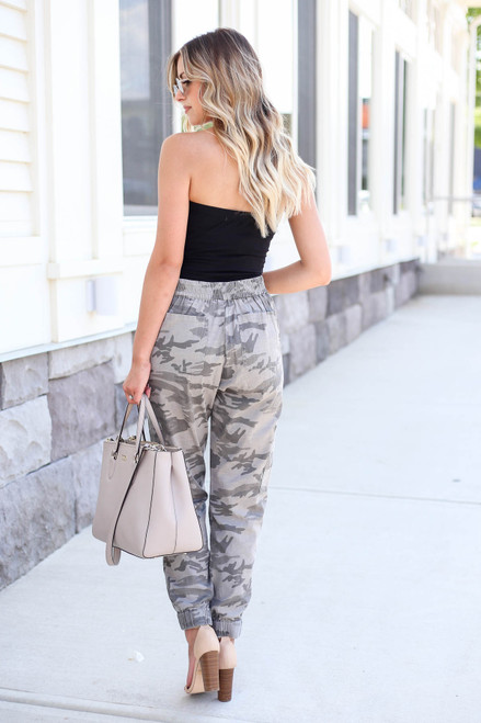 Model wearing Camo Cargo Jogger Pants Back View