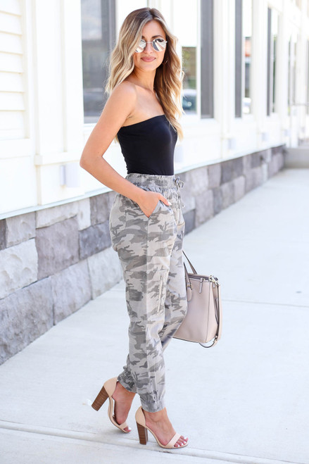 Model wearing Camo Cargo Jogger Pants Side View