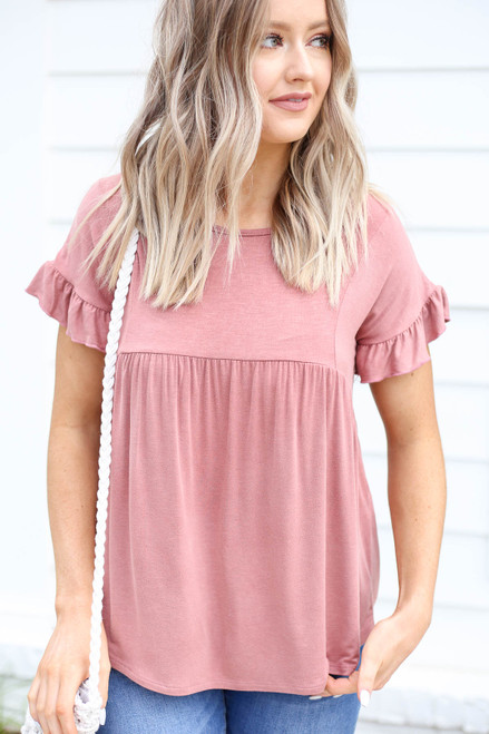 Model wearing Mauve Ruffled Sleeve Babydoll Top Front View