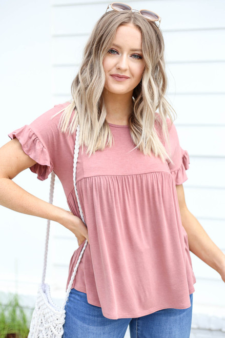 Mauve - Ruffled Sleeve Babydoll Top