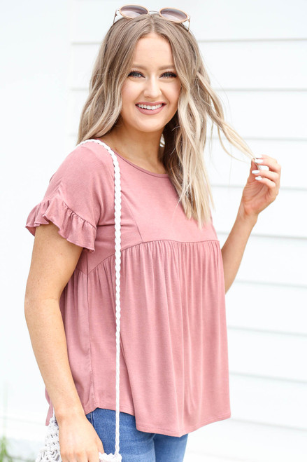 Mauve - Ruffled Sleeve Babydoll Top Side View