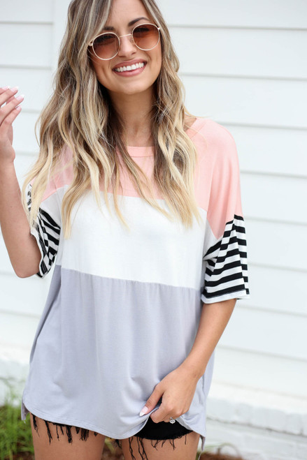Blush - Color Block Striped Sleeve Tee
