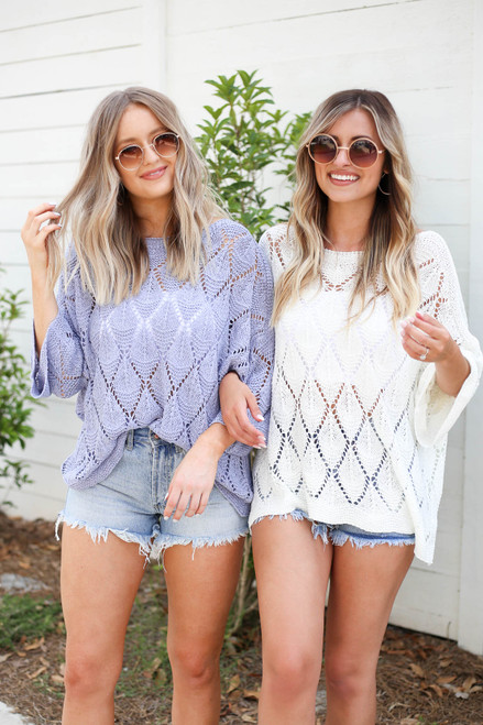 White - and Blue Eyelet Open Knit Sweaters