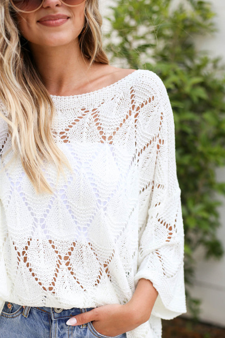 Model wearing White Eyelet Open Knit Sweater Detail View