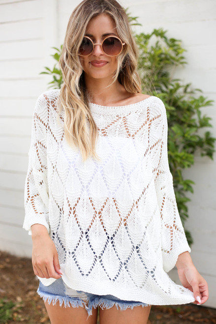 Model wearing White Eyelet Open Knit Sweater Front View