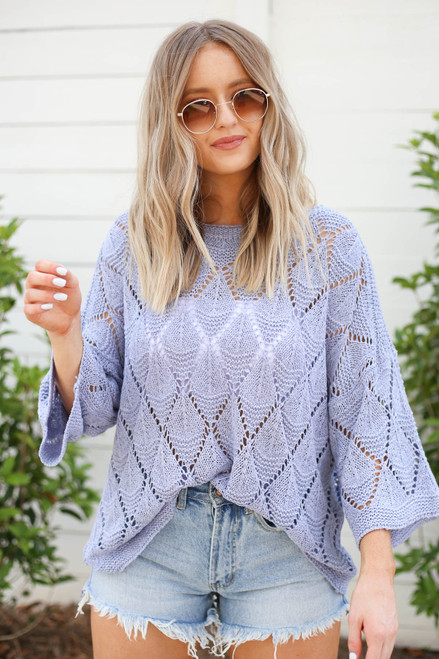 Model wearing Blue Eyelet Open Knit Sweater Front View