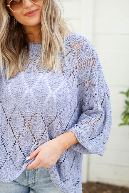 Lilac - Eyelet Open Knit Sweater Detail View