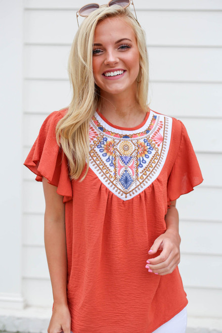 Rust - Embroidered Ruffle Sleeve Top