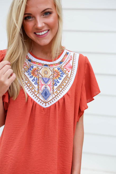 Rust - Embroidered Ruffle Sleeve Top Detail View