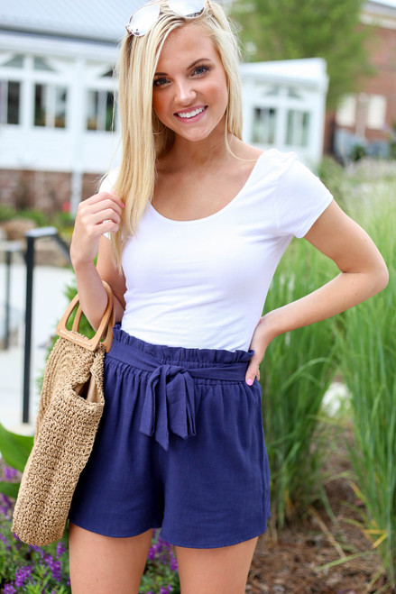 Navy - Paperbag Waist Shorts