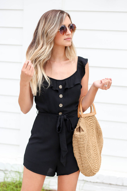 Black - Button Front Flutter Sleeve Romper