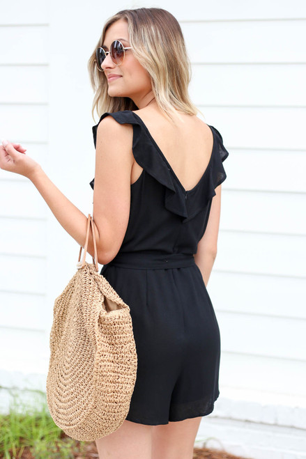 Black - Button Front Flutter Sleeve Romper Back View