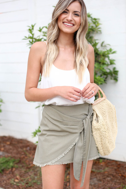 Olive - Frayed Hem Wrap Mini Skirt