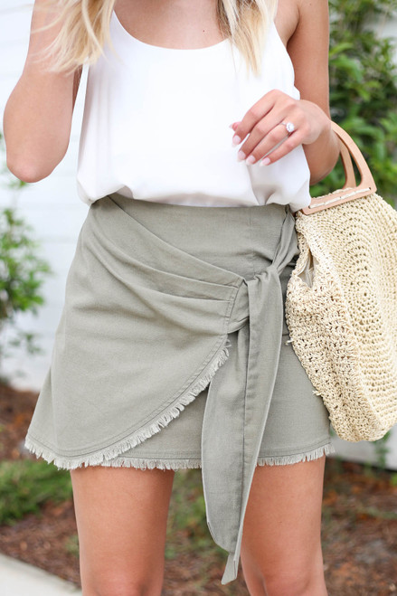Olive - Frayed Hem Wrap Mini Skirt Detail View