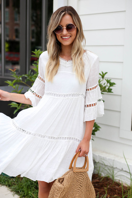Model wearing White Crochet Tiered Dress Front View