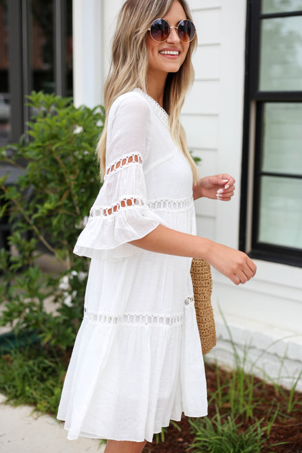 White - Crochet Tiered Dress Side View