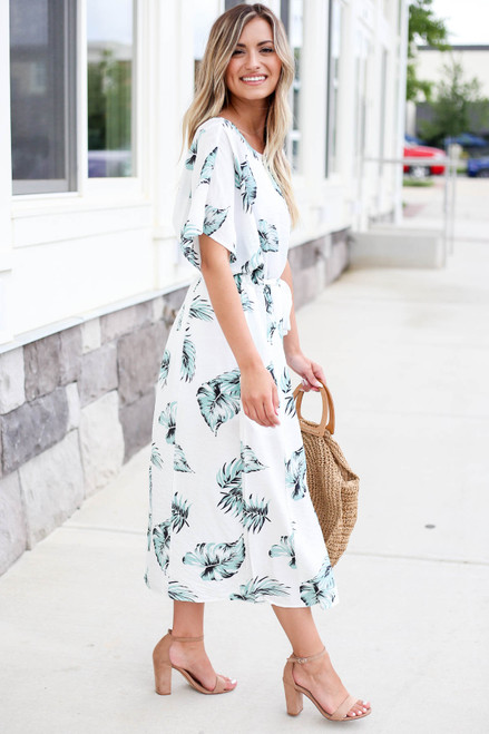 White - Palm Leaf Oversized Belted Midi Dress Side