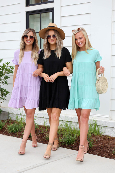 Black - Purple and Mint Tiered Mini Dresses