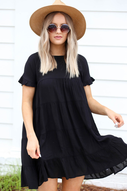 Black - Tiered Mini Dress
