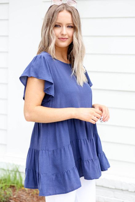 Navy - Tiered Ruffle Sleeve Blouse Side View