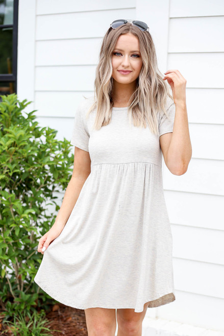 Natural - Pocketed Babydoll T-Shirt Dress