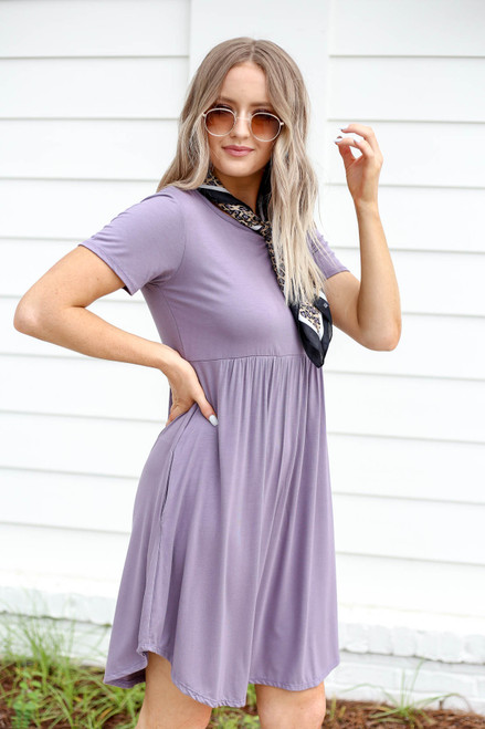 Purple - Pocketed Babydoll T-Shirt Dress Side View