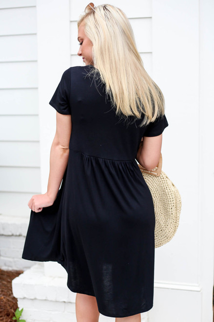 Black - Pocketed Babydoll T-Shirt Dress Back View