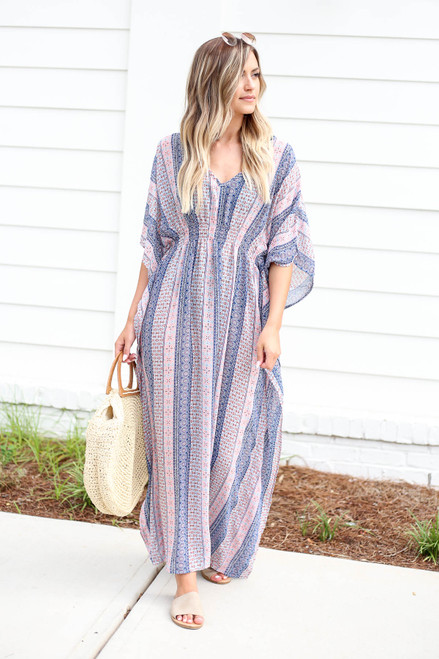 Model wearing Blue Boho Printed Cover Up