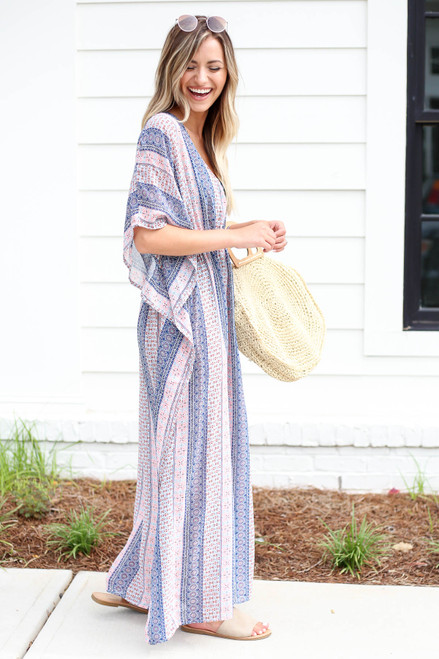 Model wearing Blue Boho Printed Cover Up Side View