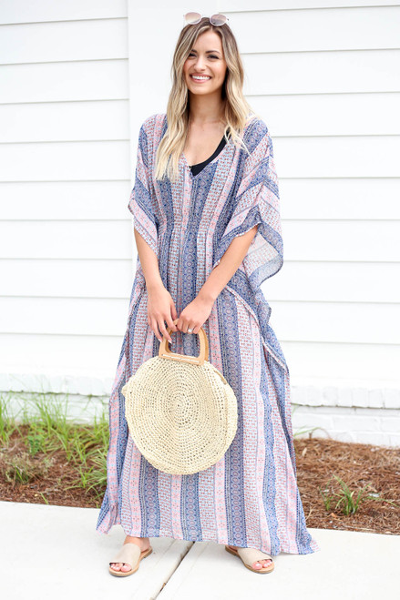 Model wearing Blue Boho Printed Cover Up Front View