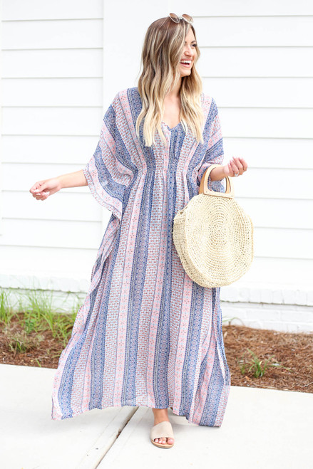Blue - Boho Printed Cover Up
