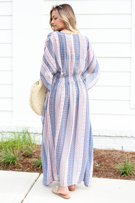 Model wearing Blue Boho Printed Cover Up Back View