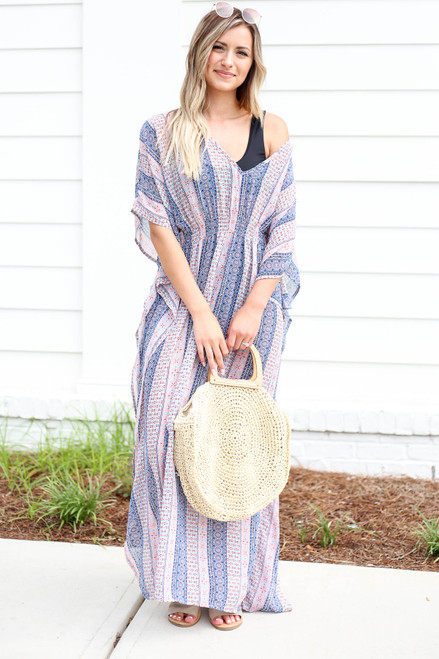 Model wearing Blue Boho Printed Swimsuit Cover Up