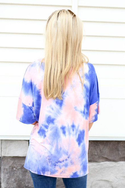 Model wearing Pink and Blue Oversized Tie-Dye Tee Back View