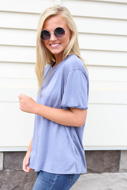 Denim - Soft Knit Burnout Tee Side View