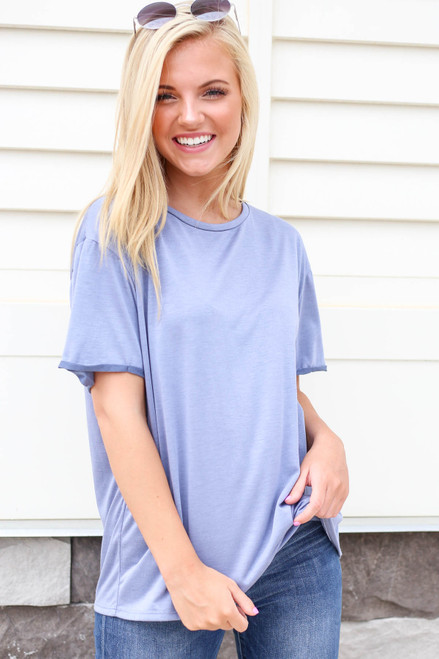Model wearing Denim Soft Knit Burnout Tee