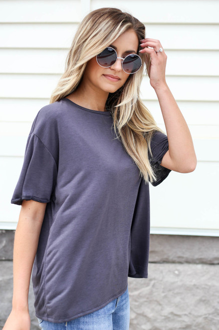 Black - Soft Knit Burnout Tee Side View
