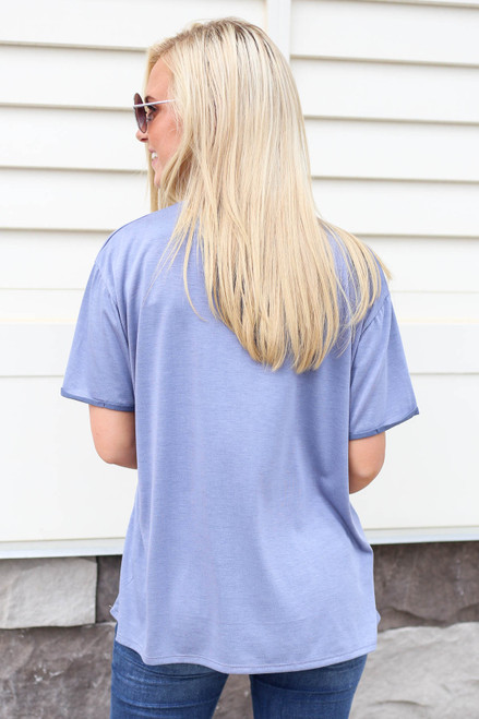 Model wearing Denim Soft Knit Burnout Tee Back View