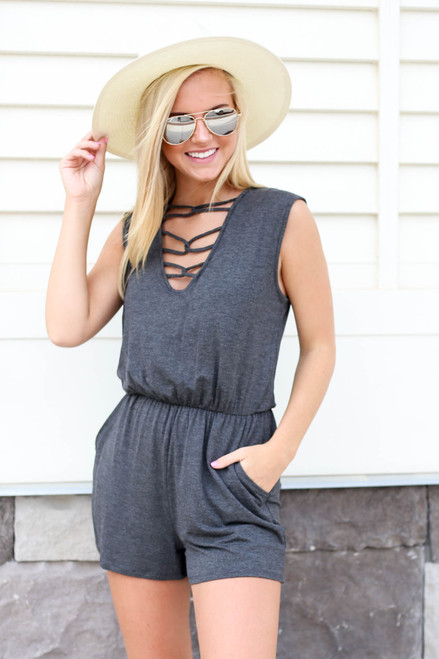 Charcoal - Criss-Cross Romper