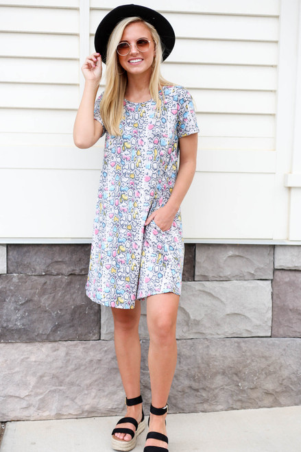Multi - Color Snakeskin T-Shirt Dress Full View