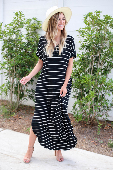 Model wearing Black and White Striped T-Shirt Maxi Front View